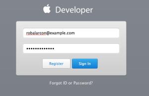iOS dev program login